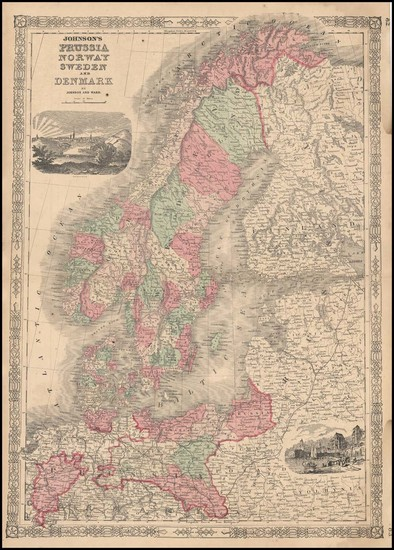 37-Europe, Germany and Scandinavia Map By Benjamin P Ward  &  Alvin Jewett Johnson