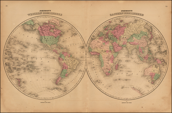 69-World and World Map By Benjamin P Ward / Alvin Jewett Johnson