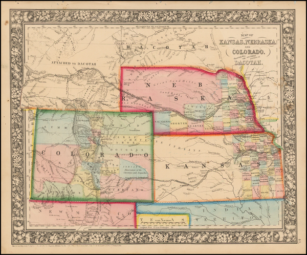 34-Plains, Nebraska, Southwest, Rocky Mountains, Colorado and Wyoming Map By Samuel Augustus Mitch