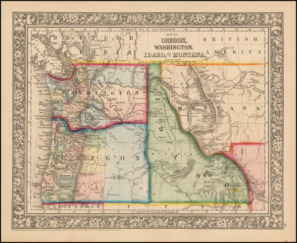1-Plains, Rocky Mountains, Idaho and Oregon Map By Samuel Augustus Mitchell Jr.