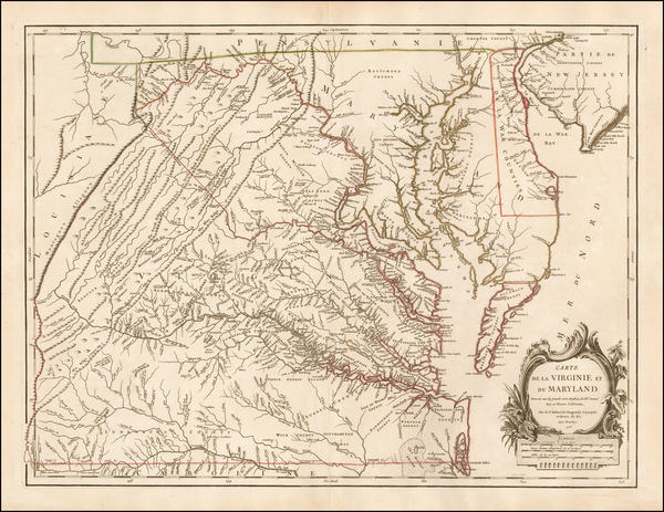 45-Mid-Atlantic, Southeast and Virginia Map By Gilles Robert de Vaugondy