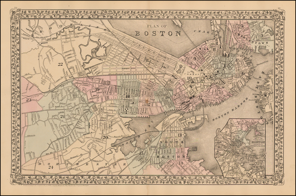 1-Massachusetts and Boston Map By Samuel Augustus Mitchell Jr.