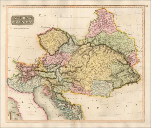 16-Austria, Hungary, Czech Republic & Slovakia, Balkans and Italy Map By John Thomson