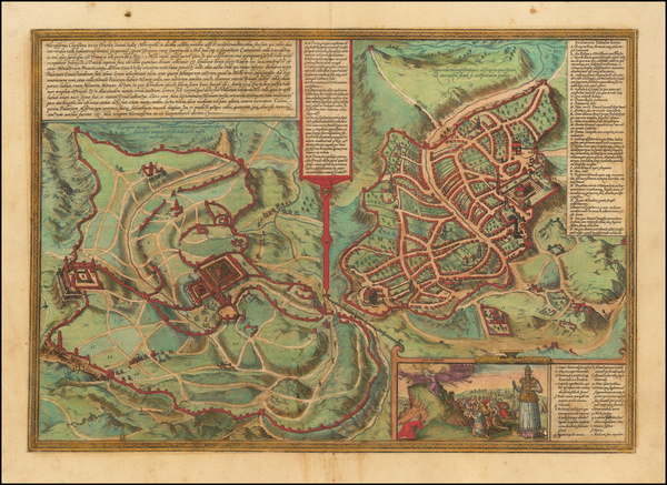 67-Holy Land and Jerusalem Map By Georg Braun  &  Frans Hogenberg