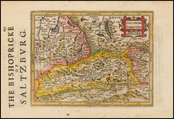 36-Austria Map By Jodocus Hondius - Michael Mercator
