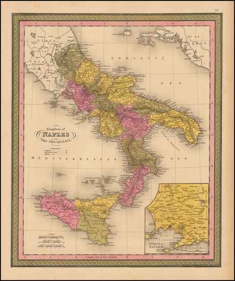 81-Italy and Balearic Islands Map By Samuel Augustus Mitchell