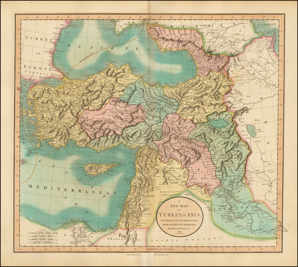 59-Turkey, Middle East and Turkey & Asia Minor Map By John Cary