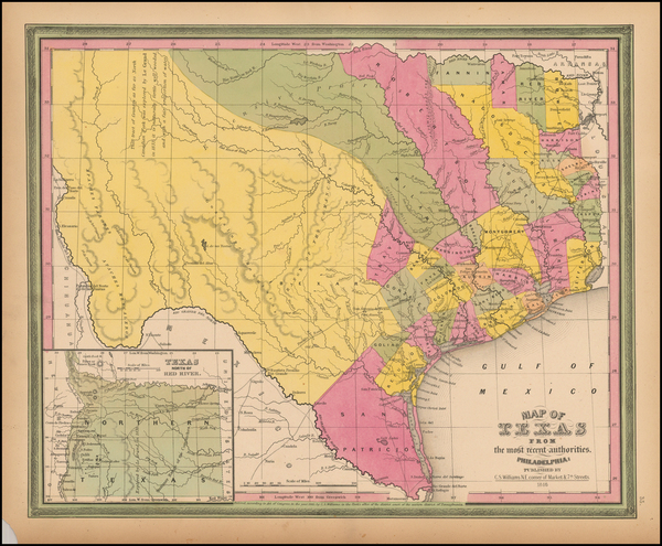 60-Texas Map By Samuel Augustus Mitchell