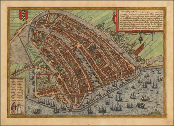 4-Netherlands Map By Georg Braun  &  Frans Hogenberg
