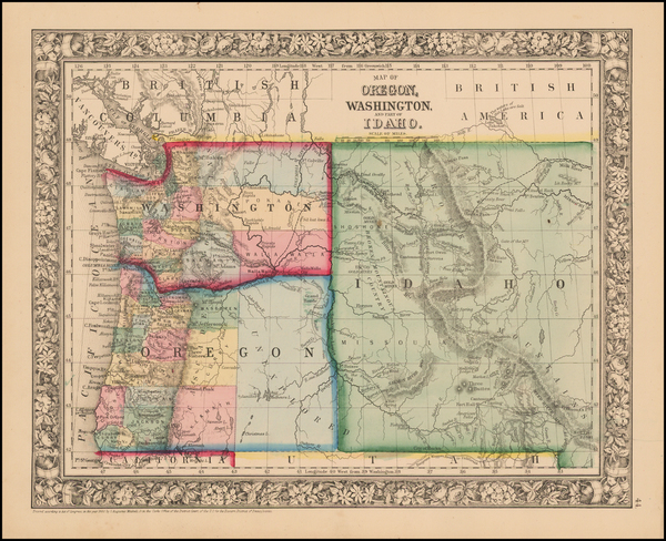 50-Idaho, Oregon and Washington Map By Samuel Augustus Mitchell Jr.