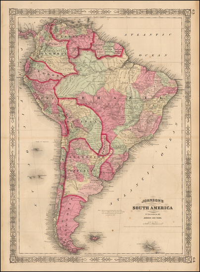 87-South America Map By Benjamin P Ward / Alvin Jewett Johnson