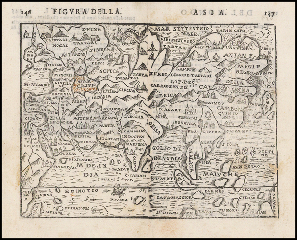 Asia and Asia Map By Giuseppe Rosaccio