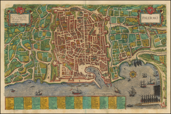 73-Italy, Southern Italy and Other Italian Cities Map By Georg Braun  &  Frans Hogenberg