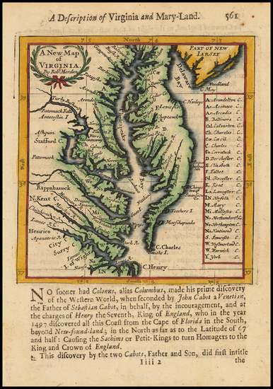 Mid-Atlantic, Delaware, Southeast and Virginia Map By Robert Morden