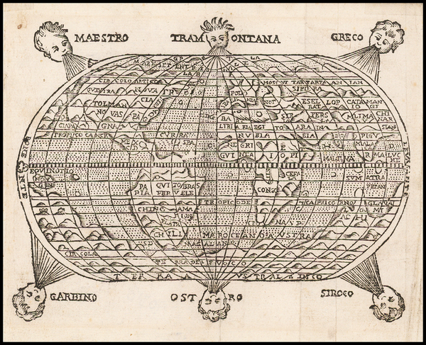 61-World and World Map By Giuseppe Rosaccio