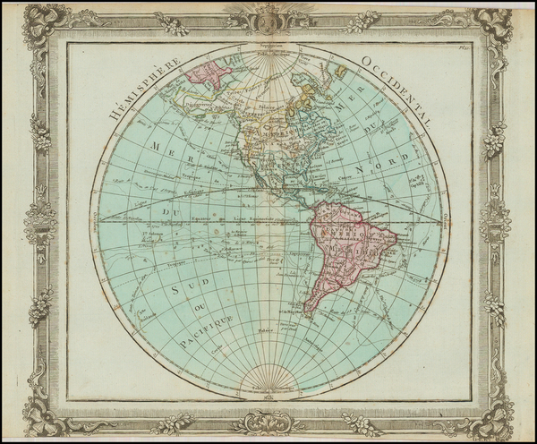 22-World, Western Hemisphere, South America and America Map By Louis Brion de la Tour