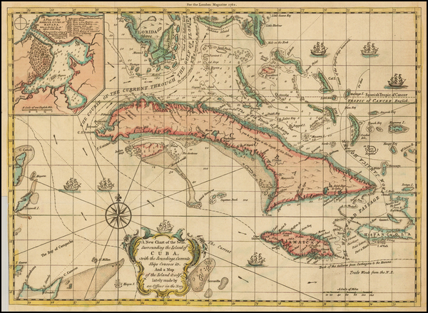 72-Florida, Caribbean and Cuba Map By London Magazine