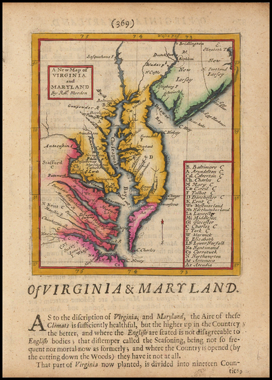 38-Mid-Atlantic, Maryland and Southeast Map By Robert Morden