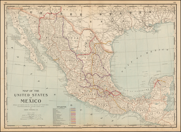 73-Mexico Map By George F. Cram
