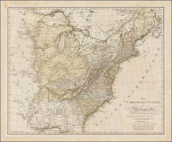 26-United States, Mid-Atlantic, South and Midwest Map By Daniel Friedrich Sotzmann