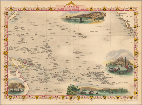4-Pacific, Oceania, Hawaii and Other Pacific Islands Map By John Tallis