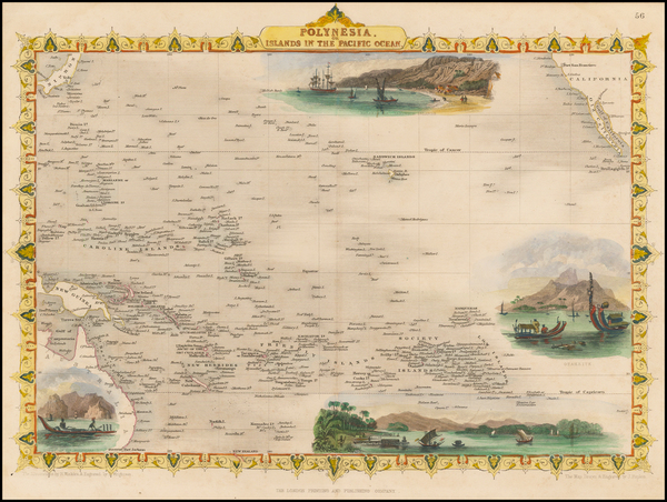 54-Pacific, Oceania, Hawaii and Other Pacific Islands Map By John Tallis