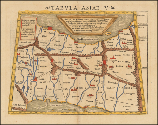 43-Central Asia & Caucasus, Middle East and Persia Map By Sebastian Munster
