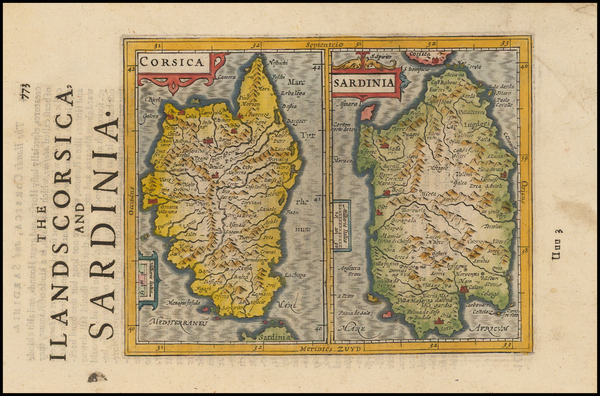 0-France, Italy, Corsica and Sardinia Map By Jodocus Hondius - Gerhard Mercator