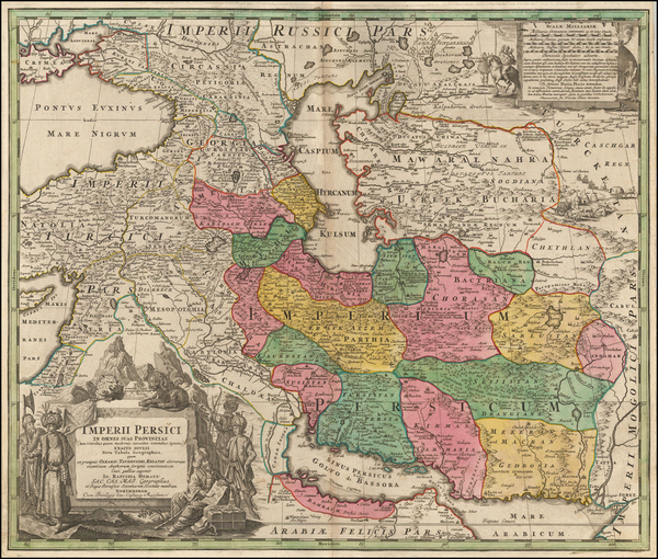 6-Central Asia & Caucasus, Middle East, Persia and Turkey & Asia Minor Map By Johann Bapt