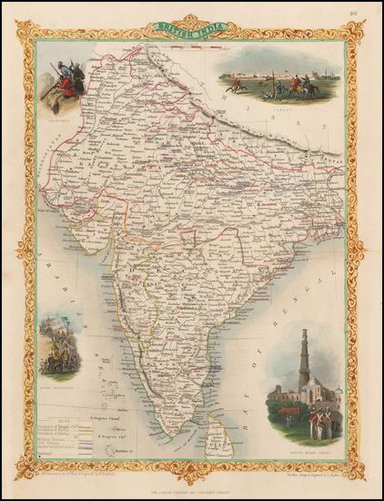 India & Sri Lanka Map By John Tallis