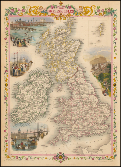 98-British Isles Map By John Tallis