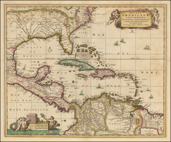7-South, Southeast and Caribbean Map By Nicolaes Visscher I