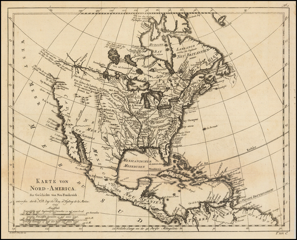 98-North America Map By Jacques Nicolas Bellin