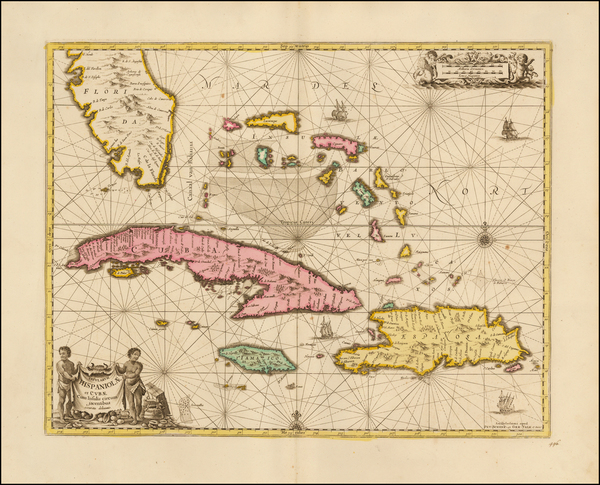 68-Southeast, Caribbean and Cuba Map By Peter Schenk  &  Gerard Valk
