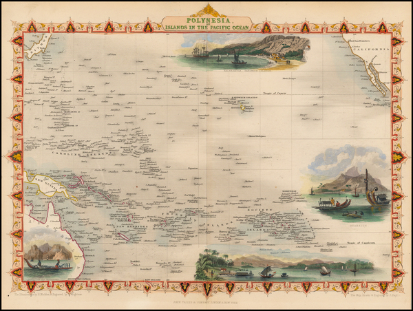 96-Pacific, Oceania, Hawaii and Other Pacific Islands Map By John Tallis