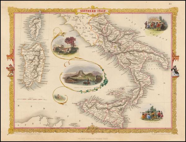 66-Italy, Mediterranean and Balearic Islands Map By John Tallis