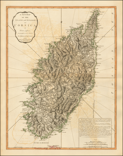 51-Corsica Map By Thomas Jefferys / Laurie & Whittle
