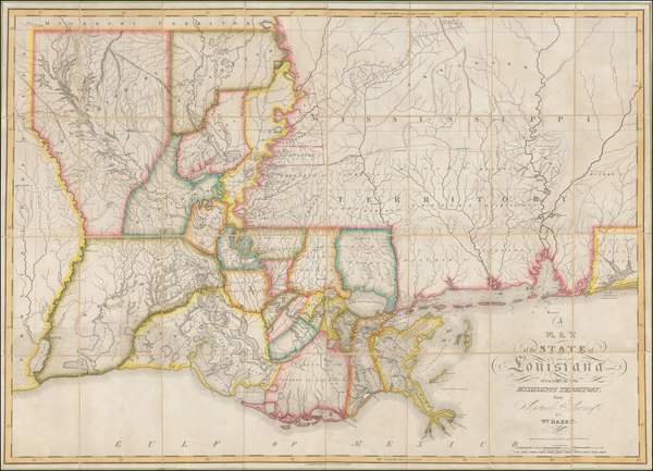 32-South, Louisiana, Alabama and Mississippi Map By William Darby