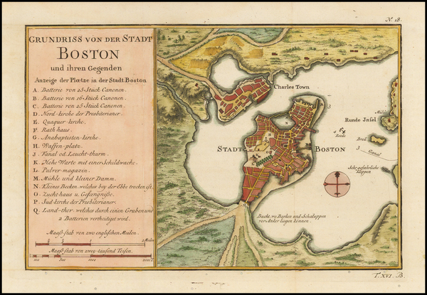 92-Massachusetts and Boston Map By Jacques Nicolas Bellin