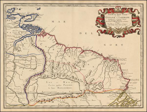 71-South America and Guianas & Suriname Map By Nicolas Sanson