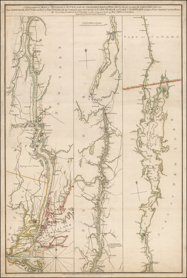 88-Vermont, New York State and Canada Map By Claude Joseph Sauthier