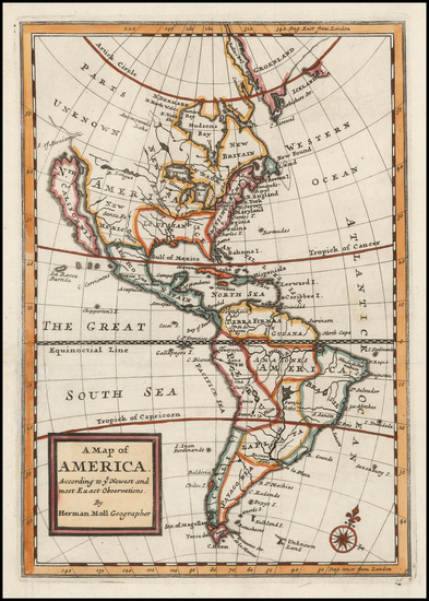 97-South America and America Map By Herman Moll