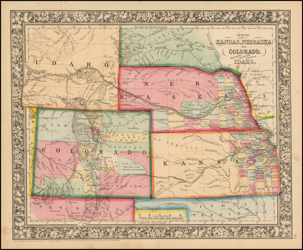 67-Plains, Southwest and Rocky Mountains Map By Samuel Augustus Mitchell Jr.