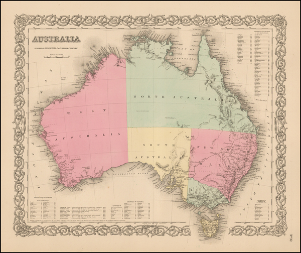 49-Australia Map By Joseph Hutchins Colton
