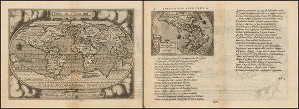 67-World, World, South America and America Map By Abraham Ortelius / Philippe Galle