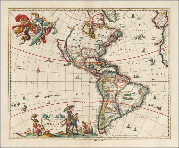 46-California as an Island and America Map By Nicolaes Visscher I