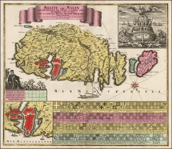 40-Malta Map By Matthaus Seutter