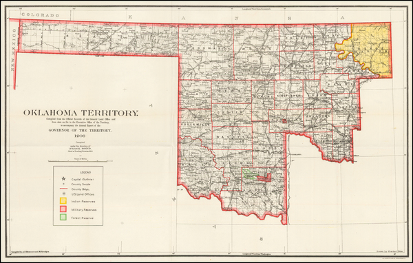 57-Plains and Oklahoma & Indian Territory Map By U.S. General Land Office
