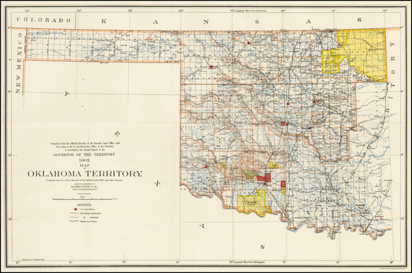 12-Oklahoma & Indian Territory Map By U.S. General Land Office