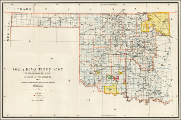 39-Oklahoma & Indian Territory Map By U.S. General Land Office